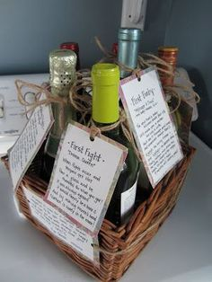 "Milestone Wine Basket: Bridal Shower- Give a basket containing several bottles of wine, each with a specific poem that relates to a milestone during the first few years of marriage. ""Wedding Night"", ""First Fight"", ""First Anniversary"", ""First Dinner #""First #relates #Dinner Wedding Gift Baskets, Wedding Shower Gifts, Basket Gift, Wine Wedding Gifts, Thoughtful Bridal Shower Gifts, Bridal Gifts, Wedding Night, Diy Wedding, Trendy Wedding"
