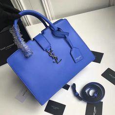 2016 A/W Saint Laurent Small Monogram Cabas Bag Blue Calf Leather