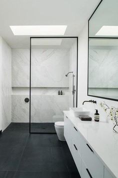 Shower Stone Feature Marble Bathroom Wall to Wall Niche Wet Room Set Up. Walk In Shower Stone Feature Marble Bathroom Wall to Wall Niche Wet Room Set Up.,Walk In Shower Stone Feature Marble Bathroom Wall to Wall Niche.In Sh Modern Bathroom Design, Bathroom Interior Design, Modern Bathrooms, Small Bathroom Designs, Washroom Design, Minimalist Bathroom Design, Shower Designs, Douche Design, Bathroom Renovations