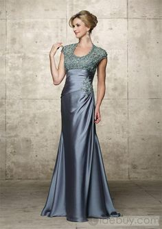Fashionable Lace/Appliques Sheath Floor-Length Round Neckline Mother of the Bride Dress