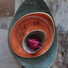 Steelite's Freestyle shape in amazing Craft reactive glazes
