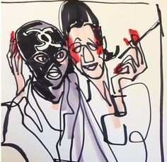 Diana Vreeland Cozying Up To a Model in a Chanel S Bondage Mask. Fashion Illustration, Fashion Sketch, by Donald Drawbertson, via Instagram.