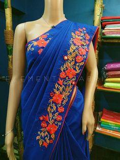 Tussar Silk Saree, Georgette Sarees, Cotton Saree, Saree Embroidery Design, Embroidery Dress, Saree Blouse Patterns, Saree Blouse Designs, Bullion Embroidery, Mirror Work Saree