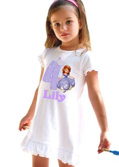 Sofia the First Birthday Dress Personalized with Name and Age on Etsy, $19.99