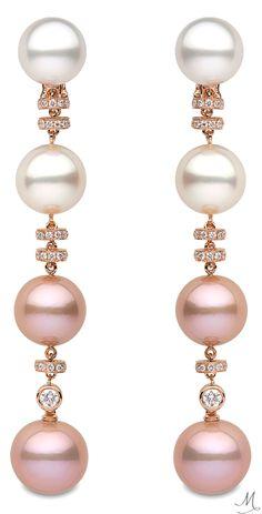 """Yoko London """"Ombre"""" Pink & White Pearl Drop Earrings"""