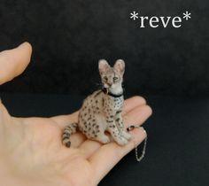 Handmade Miniature Serval Cat Sculpture by ReveMiniatures on deviantART