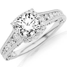 Carat Designer Halo Channel Set Round Diamond Engagement Ring with Milgrain White Gold with a Carat F-G Round Brilliant Cut/Shape Center * A special jewelry just for you to view. Round Diamond Engagement Rings, Designer Engagement Rings, Halo Engagement, Vintage Engagement Rings, Solitaire Diamond, Bling Bling, Wedding Jewelry, Wedding Rings, Wedding Band