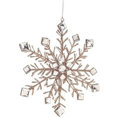 Melrose Gifts Glitter & Crystal Snowflake Ornament ($20) ❤ liked on Polyvore featuring home, home decor, holiday decorations, champagne, glitter snowflake ornaments, glitter ornaments, crystal glass ornaments, snowflake ornaments and crystal home decor