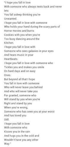 I hope you fall in love