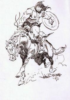 Conan on a Horse by John Buscema