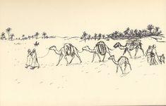 Peinture Algérie - Charles Brouty - Les caravanes , visages du Sahara éternel..