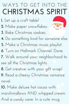 10 Ways To Get Into The Christmas Spirit - from baking Christmas cookies, to crafting, to drinking cocoa! Christmas Gift Bow, Cozy Christmas, A Christmas Story, Christmas And New Year, Christmas Lights, Christmas Cookies, Holiday Fun, Christmas Holidays, Christmas Stuff