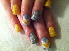 Gray and Yellow Wedding Bride to Be Nails!!