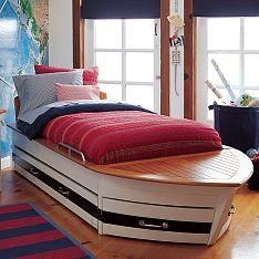 The most unusual children's beds – Baby Utensils Ideas Kid Beds, Bunk Beds, Trundle Beds, Boat Bed, Blue Curtains, Childrens Beds, Pottery Barn Kids, White Walls, Interior Design