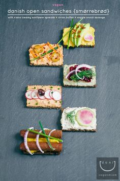 Vegan Danish Open Sandwiches (Smørrebrød) + Viana Bruschetta, Crostini, Danish Cuisine, Danish Food, Veggie Recipes, Vegetarian Recipes, Cooking Recipes, Vegetarian Barbecue, Barbecue Recipes