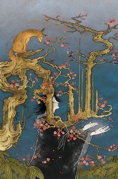 An illustration by Yoshitaka Amano for Sandman: The Dream Hunters.