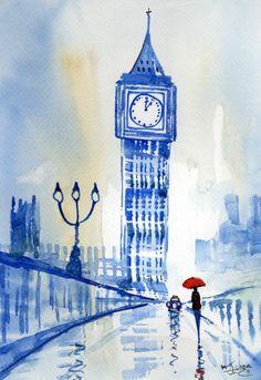 Original Signed Watercolour Painting ~ London, Crossing Westminster ~ KJ CARR