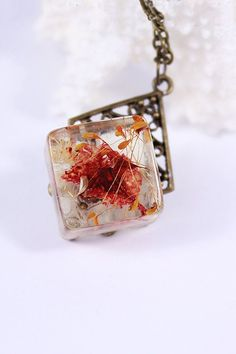 Resin Jewelry cube Shaped Pendant With Natural Flowers In Rustic Woodland Style Necklace Real Flower Resin Jewelry Red and Yellow Pendant