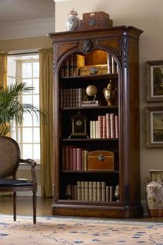 Cherry Arched Carved Bookcase with Touch Lighting Cherry Arched Carved Bookcase with Touch Lighting : Mallery Hall - Fine Custom Furnishings from around the globe, Distinctive, high end fine furnishings that offer unique style Fine Furniture, Wood Furniture, Furniture Stores, Cherry Bookcase, Traditional Bookcases, House Rooms, Home Collections, Interiores Design, Open Shelving