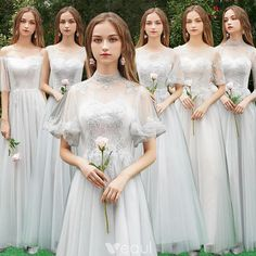 Chic / Beautiful Grey See-through Bridesmaid Dresses 2019 A-Line / Princess Appliques Lace Floor-Length / Long Ruffle Wedding Party Dresses Ball Dresses, Ball Gowns, Flower Girl Dresses, Prom Dresses, Summer Dresses, Wedding Entourage, Grey Bridesmaid Dresses, Bridesmaids, Champagne Dress