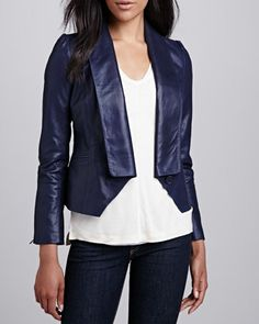 Single-Lapel Leather Jacket by Cusp by Neiman Marcus at Neiman Marcus.