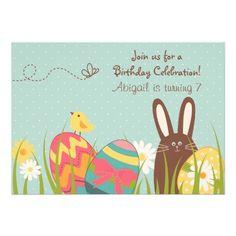 Cute Bunny and Easter Eggs Birthday Invitation