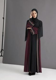 INAYAH | Dark Maroon Belted Kimono With Lace www.inayah.co