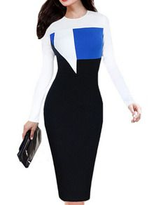Colour-block Round Neck Slim Dress