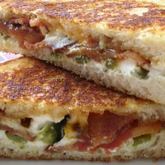 Jalapeno Popper Grilled Cheese. Mix cream cheese, bacon & chopped jalapenos together then grill – OMG!