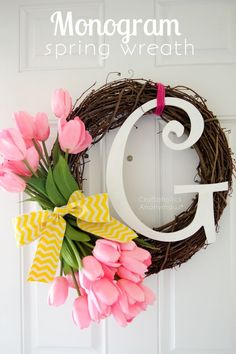 DIY Monogram Spring wreath. Easy and pretty wreath to make!