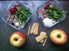 salad of roasted chicken, arugula, and baby radishes with mustardy mayonnaise on the side. Cheese crackers provide similarly fancified crunch, and apples from the Hesser-Friend family CSA share are a perfect ending to a fall meal.