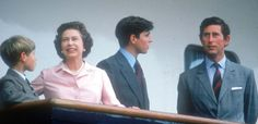 Olympic history: The Queen on the Royal Yacht Britannia on her way to the Montreal Olympics in Canada in 1976 with her sons, Prince Edward, Prince Andrew and the Prince of Wales Prince Philip, Prince Of Wales, Prince Charles, Prince Andrew, Prince Edward, Elizabeth Philip, Queen Elizabeth Ii, Hm The Queen, Save The Queen
