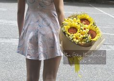 Flower bouquet, Sunflowers mixed with yellow lily  #HoaGiayHandmadeThaoKi #HoaBo #HuongDuong #lily