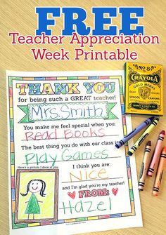 Love this free Teacher Appreciation Week printable! It's a great gift for teachers, and one your child can customize to make it special. You could also make this a class gift by letting each student fill out a page and then binding them all together. This post also shares 5 teacher gift ideas.
