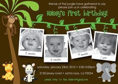 Jungle First Birthday  Custom Photo Birthday by KimNelsonCreative, $15.00