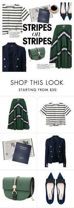 """Stripes on stripes"" by punnky ❤ liked on Polyvore featuring Valentino, Theory, Miu Miu, Haute Hippie, stripesonstripes and PatternChallenge"