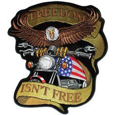Freedom Isn't Free Biker Eagle Patriotic Large Back Patch