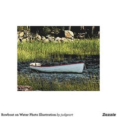 Rowboat on Water Photo Illustration Canvas Print. #fineart #boats #water #nature #landscapes #canvasprints #canvas