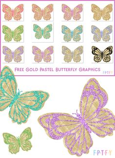 12 Free Gold Pastel Glitter Butterfly Graphics - Free Pretty Things For You