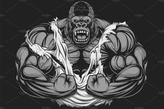 Illustration about Vector illustration, ferocious gorilla bodybuilder shows his big biceps. Illustration of comics, mascot, isolated - 63147970 Vector Graphics, Vector Art, Gorilla Tattoo, Strongest Animal, Silverback Gorilla, Gym Logo, Desenho Tattoo, Gym Design, After Life