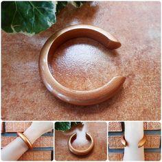 Wood Bangle Bracelet Eco-friendly Wooden Gold Natural Jewelry Thailand | GoldenWorld - Jewelry on ArtFire