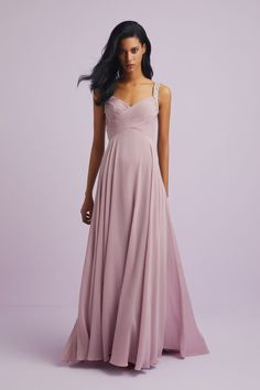 This gown is stunning with the deep plunging neckline and flared high-low hem. The three rows of beading that wrap around the bodice makes for a eye catching gown. Designer Wedding Dresses, Bridal Dresses, Bridesmaid Dresses, Occasion Wear, Plunging Neckline, Mother Of The Bride, Bodice, Chiffon, Gowns