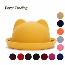 2016 nova outono inverno moda Fedoras chapéus de feltro de lã mulheres Retro do gato do Vintage orelha de Animal Cap não deformada Fedoras Caps para mulheres(China (Mainland))