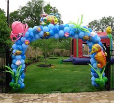 Ocean theme arch    Ocean Balloon, seahorse, octopus, fish, seaweed, sea, ocean, balloon arch, Celebration Creations