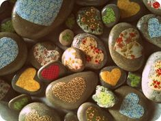 Rocks with fabric hearts and then painted with Modpodge