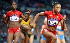 CONGRATULATIONS!! TEAM USA WINS GOLD....AGAIN!!!  Allyson Felix takes the baton from Dee Dee Trotter. Felix ran her leg in 47.8s to give the U.S. team a big lead in the 4x400 relay at the 2012 London Olympics on Saturday.    2012 London Olympics   Day 15 -