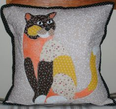 A fabulous Puurdi the cat cushion completed by one of our customers. Cat Cushion, All Craft, Dressmaking, Cushions, Throw Pillows, Fabric, Crafts, Sew Dress, Tejido