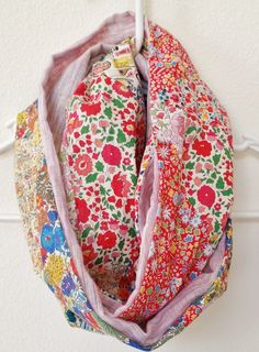 EXCELLENT TUTORIAL SHOWS HOW TO SEW SCRAPS TOGETHER THEN RECUT SHAPES INTO SQUARES + TRIANGLES - Mad For Fabric - DIY Liberty Patchwork Infinity Scarf