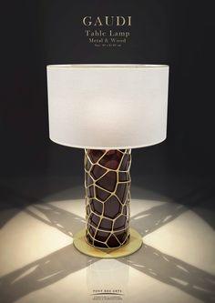 Gaudi table lamp - Wood And Bronze - Pont des Arts - Monzer Hammoud - Designer - Paris - Diy Floor Lamp, White Floor Lamp, Table Lamp Wood, Wooden Lamp, Light Table, Lamp Light, Interior Lighting, Lighting Design, Gaudi