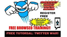 Free BrowSEO Tutorial: Twitter War! (video marketing tutorial) Seo Training, Marketing Training, Marketing Tools, Internet Marketing, Digital Marketing, Seo Tutorial, Facebook Profile, Free Sign, Online Business